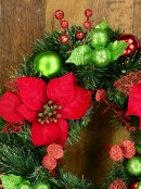 Decorated With Red Poinsettia, Mistletoe, Foliage & Baubles Pine Wreath - 45cm