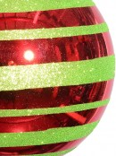 Metallic Red With Green Glitter Stripe Large Bauble Display Decoration - 25cm
