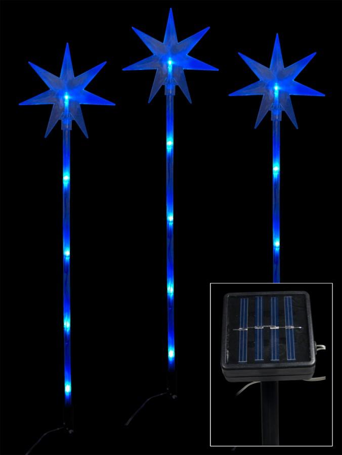 6 Blue LED Solar North Stars On Stakes - 66cm