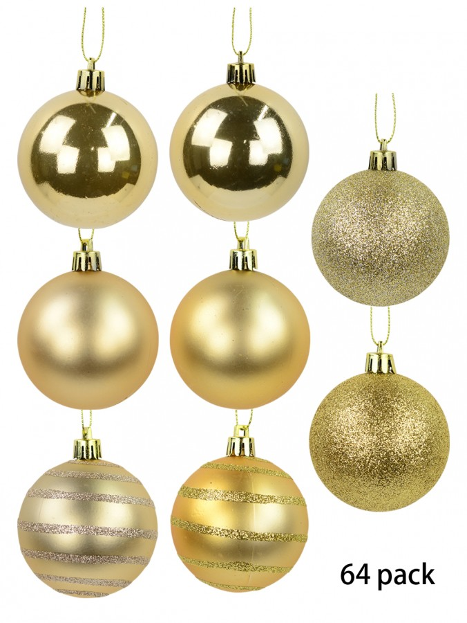 Gloss, Matte, Pearl, Glitter & Striped Gold & Champagne Baubles - 64 x 60mm