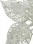 White Iridescent Filigree Decorative Poinsettia Floral Pick - 17cm