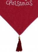Red Hessian Christmas Table Runner With Nude Fabric Border & Tassel - 1.4m