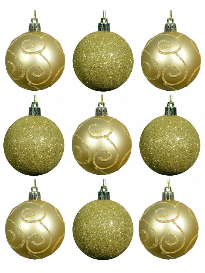 Soft Gold Glitter & Matte Gold With Gold Glitter Swirls - 9 x 60mm