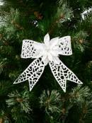 Iridescent Glitter White Ribbon Bow With Poinsettia Decoration & Clip - 15cm