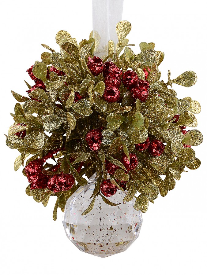 Hanging Decorative Mistletoe Cluster With Simulant Jewel Ornament - 12cm