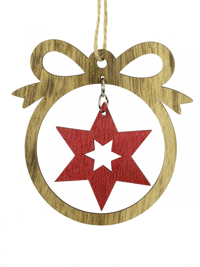 MDF Bow With Red Star Cut-Out Hanging Decoration - 10cm