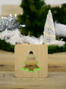 Wooden Tree Laser Cut-Out With Recessed Green LED Strip Ornament - 18cm