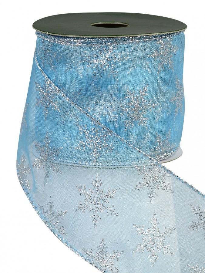 Tiffany Blue & Silver Snowflake Design Ribbon - 3m