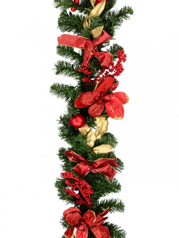 Decorated Red Bauble, Berry & Poinsettia & Gold Leaf Pine Garland - 1.8m