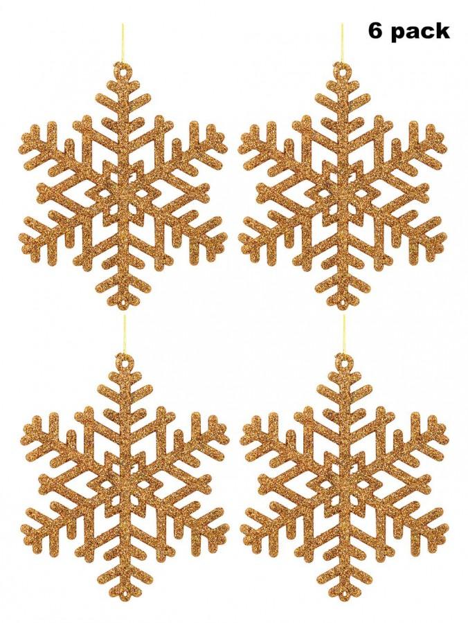 Gold Glitter on Bronze Snowflake Ornaments - 6 x 10cm
