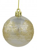 Gold & Champagne Pearl Baubles With Gold Glitter &  White Stripes - 12 x 60mm
