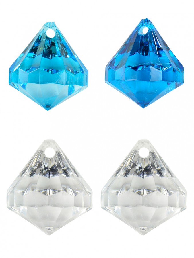 Turquoise & Clear Diamond Shape Hanging Decorations - 18 x 35mm
