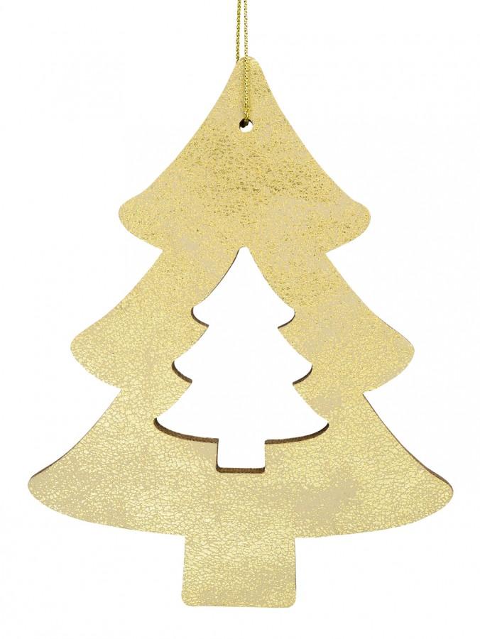 Gold Natural Wood 2D Tree Hanging Decoration - 12cm
