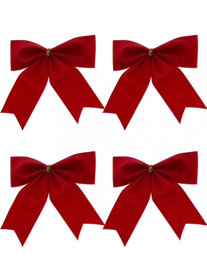 Red Velvet Christmas Bow Decorations - 8 x 80mm
