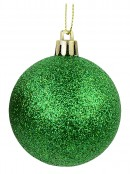 Red, Green & Gold Glittered Baubles 12 x  60mm