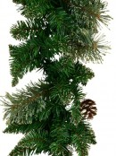 Balsam Pine Needle Garland With 165 Gold Glittered Tips & Pine Cones - 2.3m
