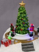 Illuminated & Animated Two Christmas Tree Scene With Kids & Elf - 19cm