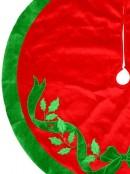 Red With Green Bow & Mistletoe Pattern Velvet Christmas Tree Skirt - 1.2m