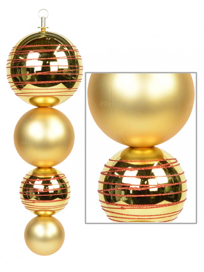 Metallic & Matte Gold Finial Display Decoration With Red Glitter Stripes - 45cm