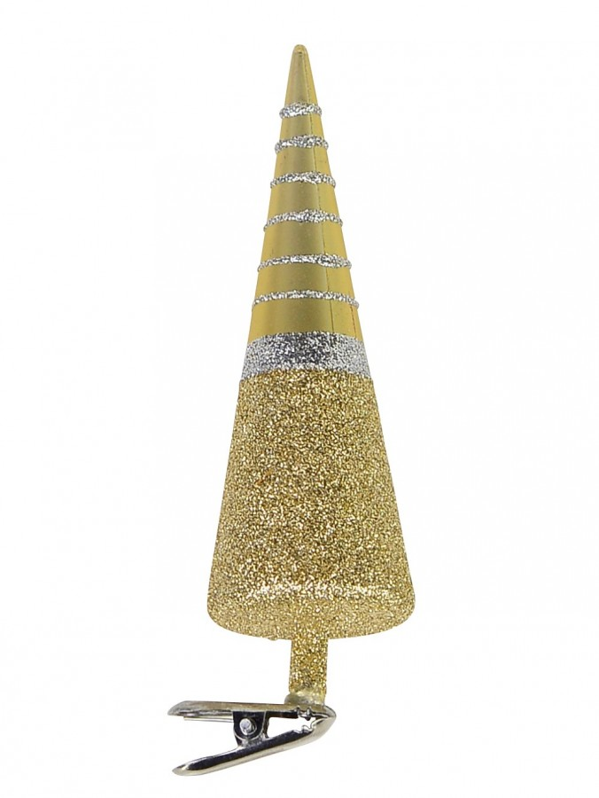 Cone Shape Tree with Clip On Ornament in Gold & Silver - 13cm