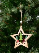 Wooden Star Reindeer In Forest 3D Scene Hanging Decoration - 13cm
