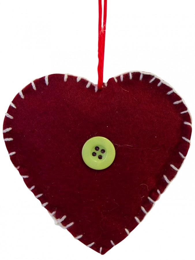 Red Felt Love Heart Hanging Ornament - 10cm