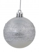 Silver Pearl Baubles With Silver Glittered White Stripes - 12 x 60mm