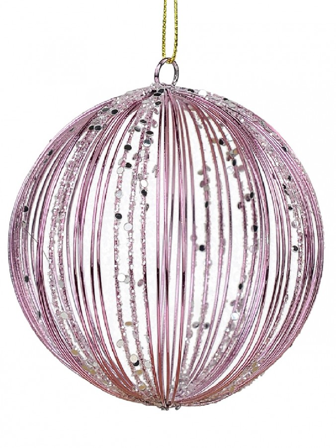 Pink Wire Glittered Bauble Shape Christmas Tree Hanging Decoration - 80mm