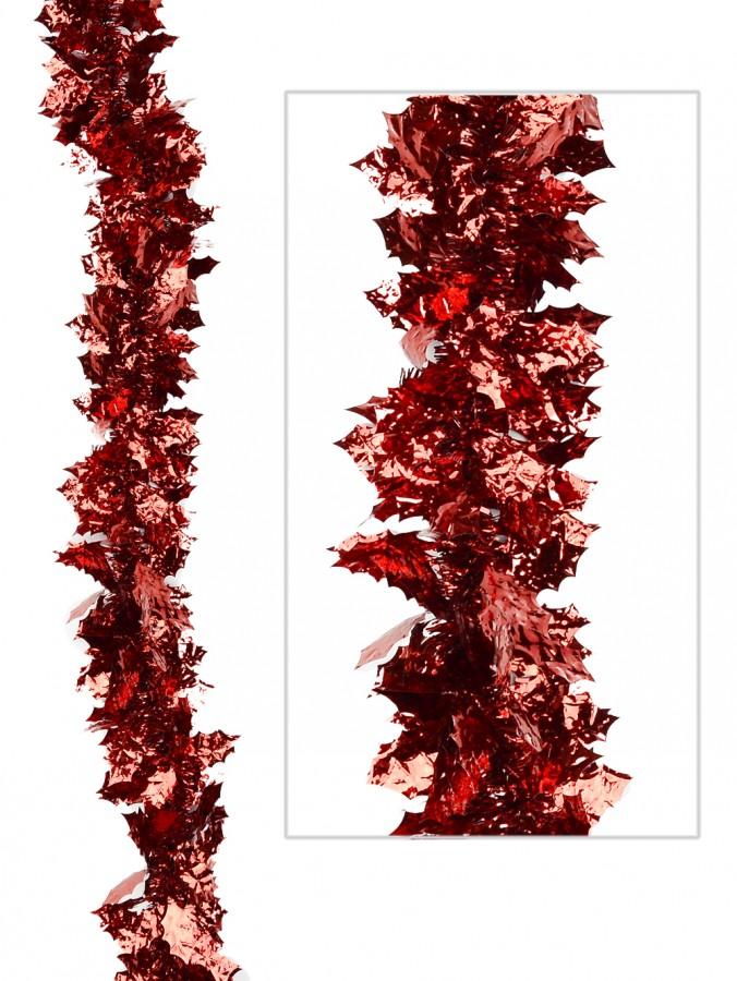 Red Holly Leaf Tinsel Garland - 2.7m