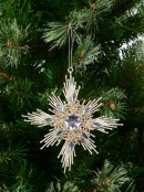 Silver Star & Encrusted Diamante Christmas Tree Hanging Decoration - 15cm