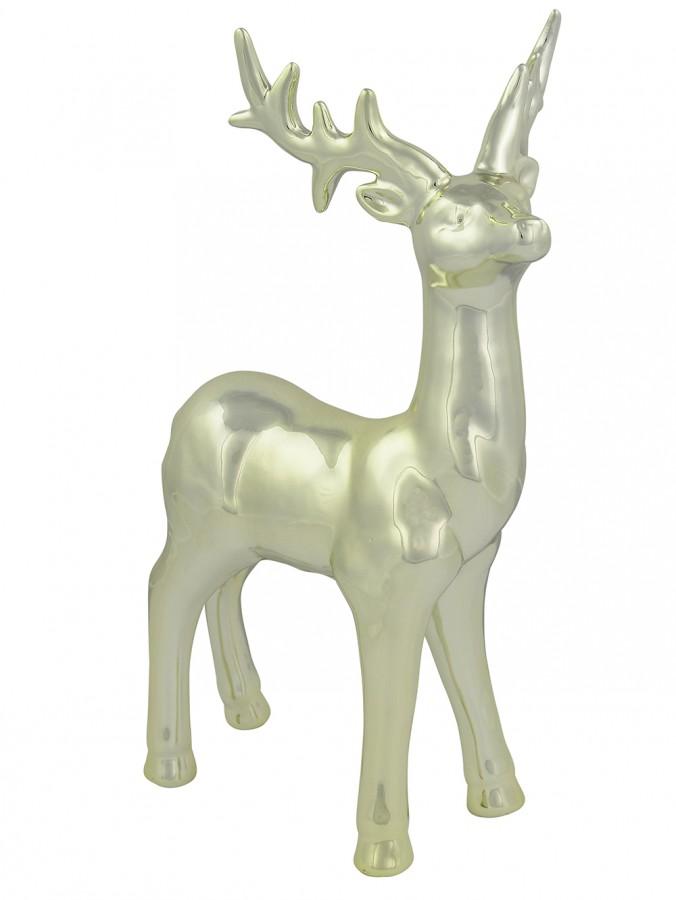 Majestic Standing  Ceramic Champagne Reindeer Ornament - 32cm