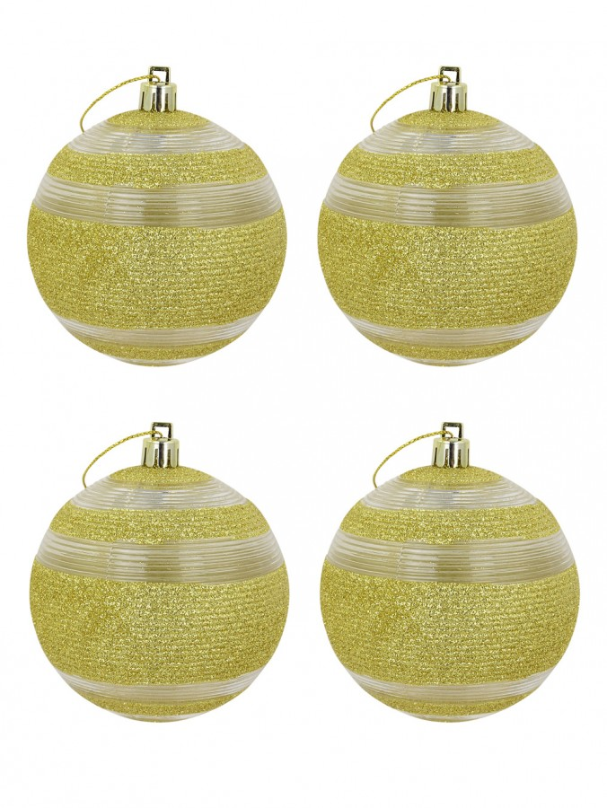 Soft Gold Glitter With Clear Lined Detail Baubles - 4 x 80mm