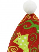 Red Santa Hat with Green Print Christmas Tree Hanging Decoration - 12cm