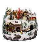 Northern Winter Christmas Village Scene With Rotating Train & Carousel - 26cm
