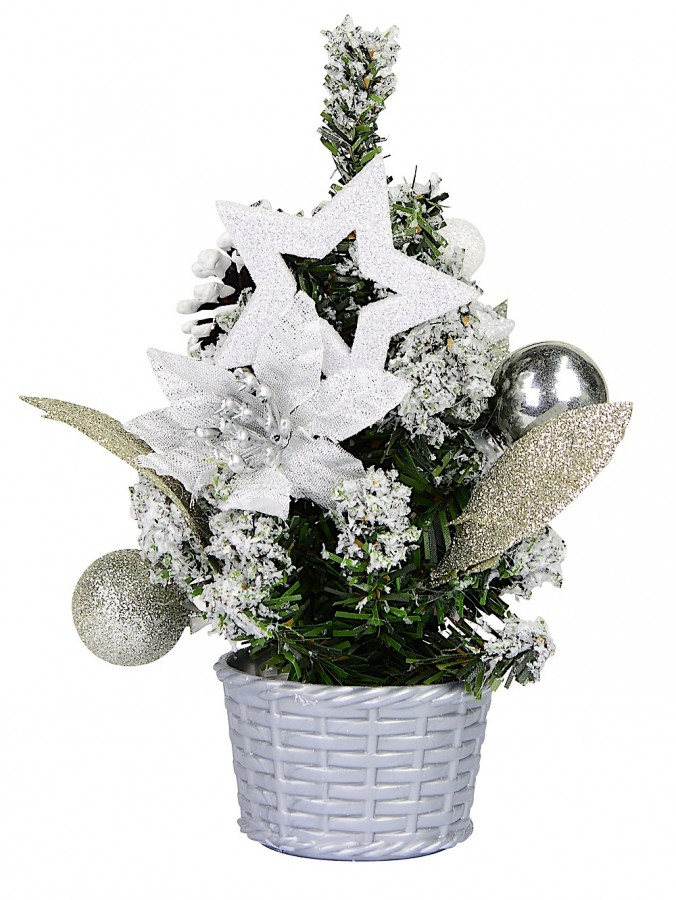 Decorated Silver, Glitter & Poinsettia Christmas Tree Table Top Ornament - 18cm