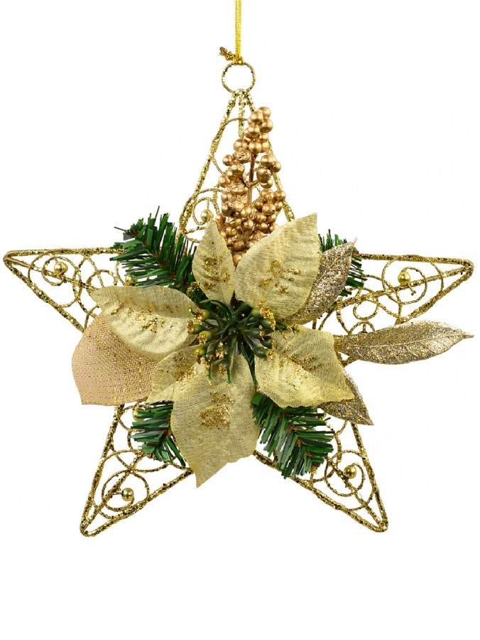 Hanging Decorative 3D Metal Wire Star With Pine & Poinsettia Ornament - 30cm