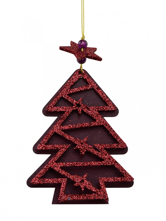 Red Wood With Glitter 2 Layer Christmas Tree Hanging Decoration - 11cm