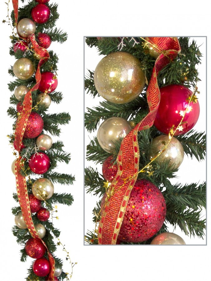 Pre decorated red gold bauble pine garland m