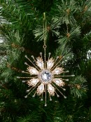 Gold Glitter Snowflake With Encrusted Diamante Hanging Ornament - 14cm