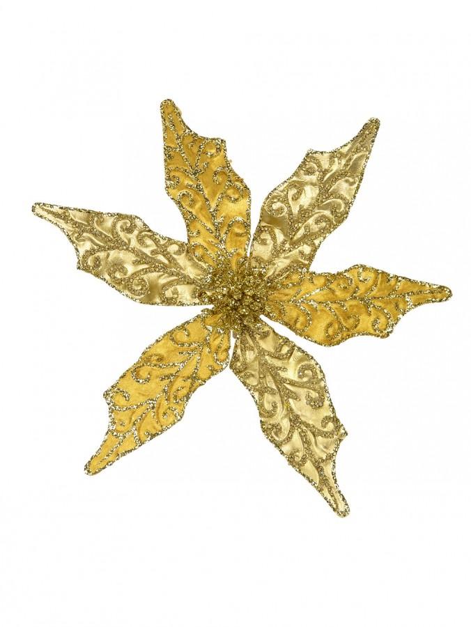 Gold & Gold Glitter Poinsettia Clip On Pick - 22cm