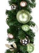 Decorated Pink & Mint Baubles, Whisker Loops & Leaf Stem Pine Garland - 2.7m