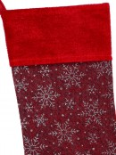 Red Soft Burlap With Silver Glitter Snowflakes Pattern Christmas Stocking - 42cm