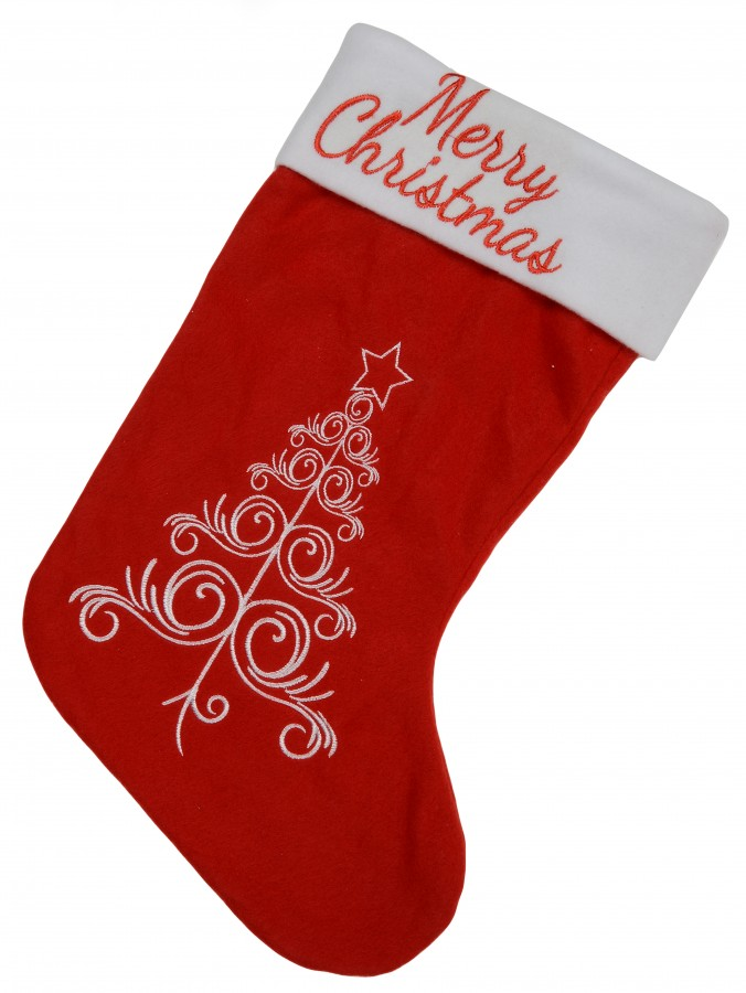 Merry Christmas & Christmas Tree Red Fleece Stocking - 46cm
