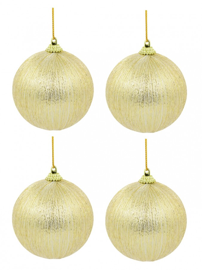 Spectacular Champagne With Gold Silk Thread Baubles - 8 x 75mm