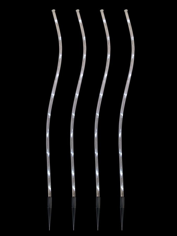 4 x Cool White Lighting Connect Super Bright LED Wave Tube Stake Light - 70cm