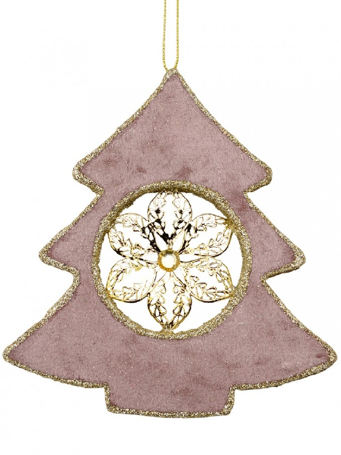 Dusty Pink Velvet Christmas Tree With Poinsettia Hanging Decoration - 15cm