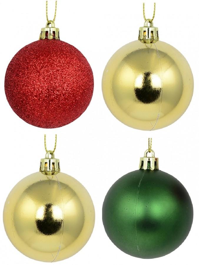 Red Glittered, Green Matte &  Gold Metallic Baubles - 12 x 60mm