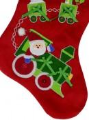 Red Velvet With Green Santa Train & Toys Applique Christmas Stocking - 42cm