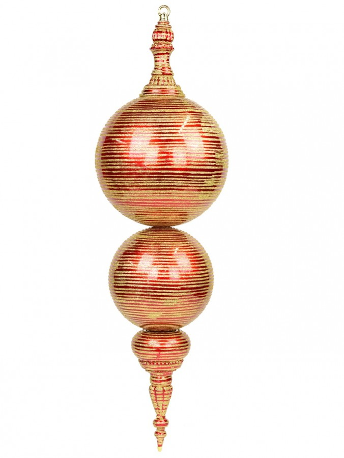 Apple Red With Gold Glitter Striping Large Finial Display Decoration - 85cm