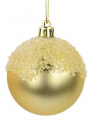 Matte Pink & Matte Gold Baubles With Textured Frost Topping - 2 x 60mm